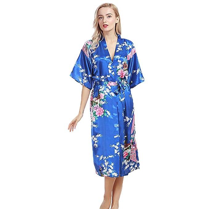 Pijama Mujer Verano Sexy Lencería Kimono Largo Pavo de satén y Estampado Floral para Mujer