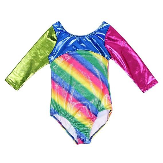 Prettyia One Piece Stripe Leotards Girls Gymnastics Athletic Dancing Outfit 4-8Y