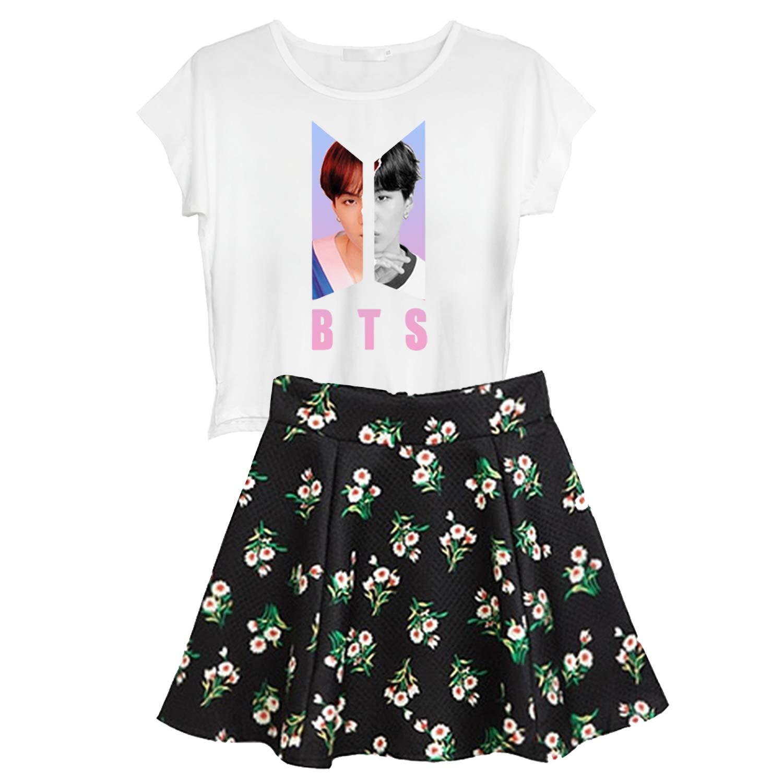 Floral Skirt 2PCS Suit Suga Jungkook Jimin V Dress Set DHSPKN BTS T-Shirt