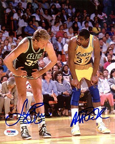 Magic Johnson & Larry Bird Autographed 8x10 Photo PSA/DNA ()