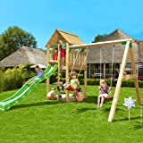 Outdoor Play Centre. Jungle Gym Cabin + Swing Module - Strong, Long-Lasting Wooden Activity Centre with Swingset, Slide and Sandpit makes a Great Adventure Playground. This Outdoor Playhouse and Playset is Perfect for Kids Garden Games and Parties.