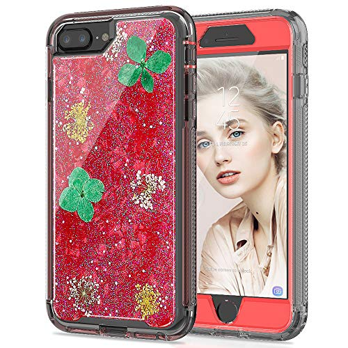 (SEYMAC Stock iPhone 8 Plus/ 7 Plus/ 6 Plus Girls/Women Case, [Hybrid Drop Protection]Case with Shockproof Translucent Flexible Bumper&[Real Flower] Glitter for iPhone 6 Plus/6s Plus/7 Plus/8 Plus -Red)