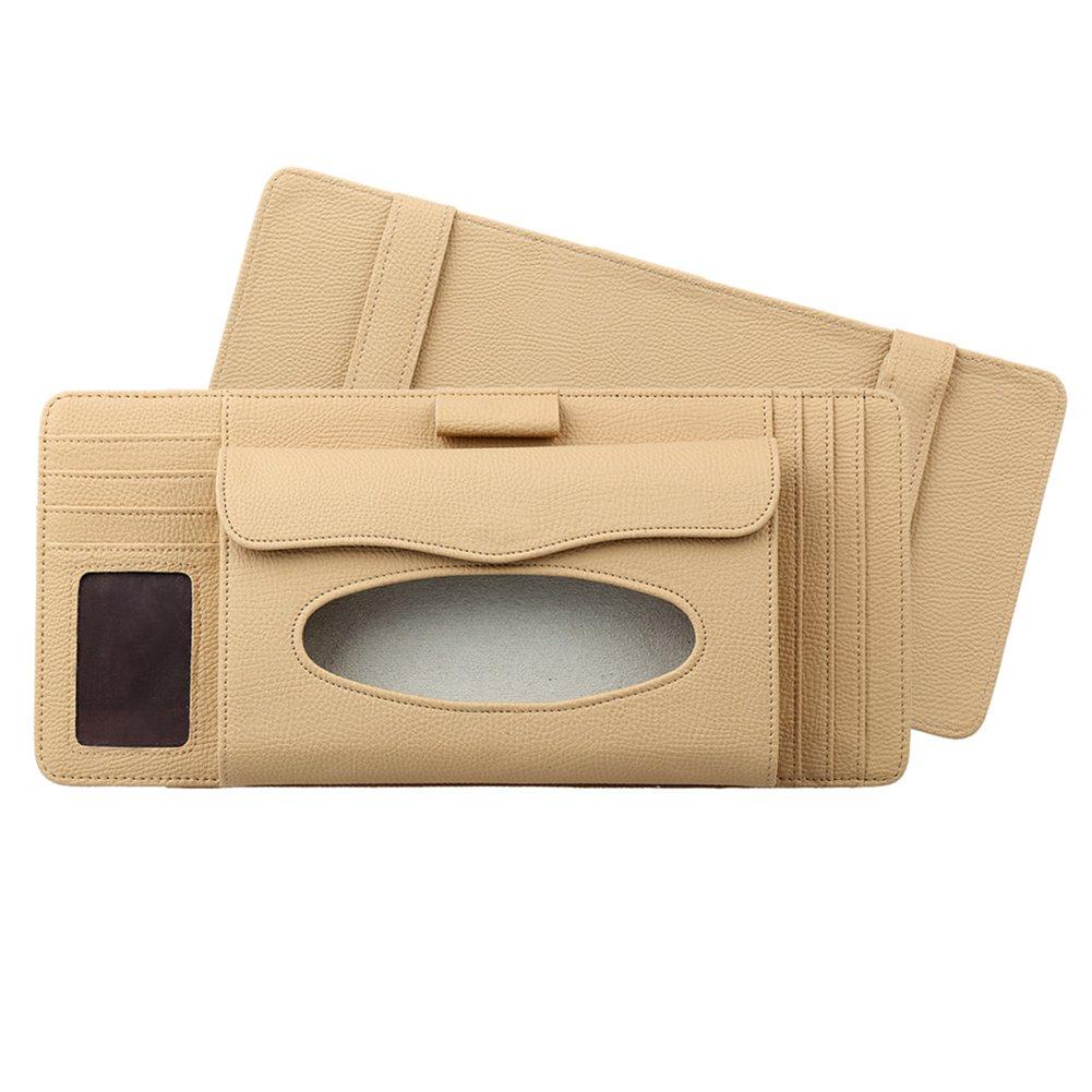 3 in 1 Tissue Box Feines Mikrofaser-Leder Sonnenblenden-organizer, Auto Sonnenblende Tasche Auto CD Organizer, Tissue Box, Stifthalter, Kartenhalter, von DUBENS® (Schwarz) DUBENS®