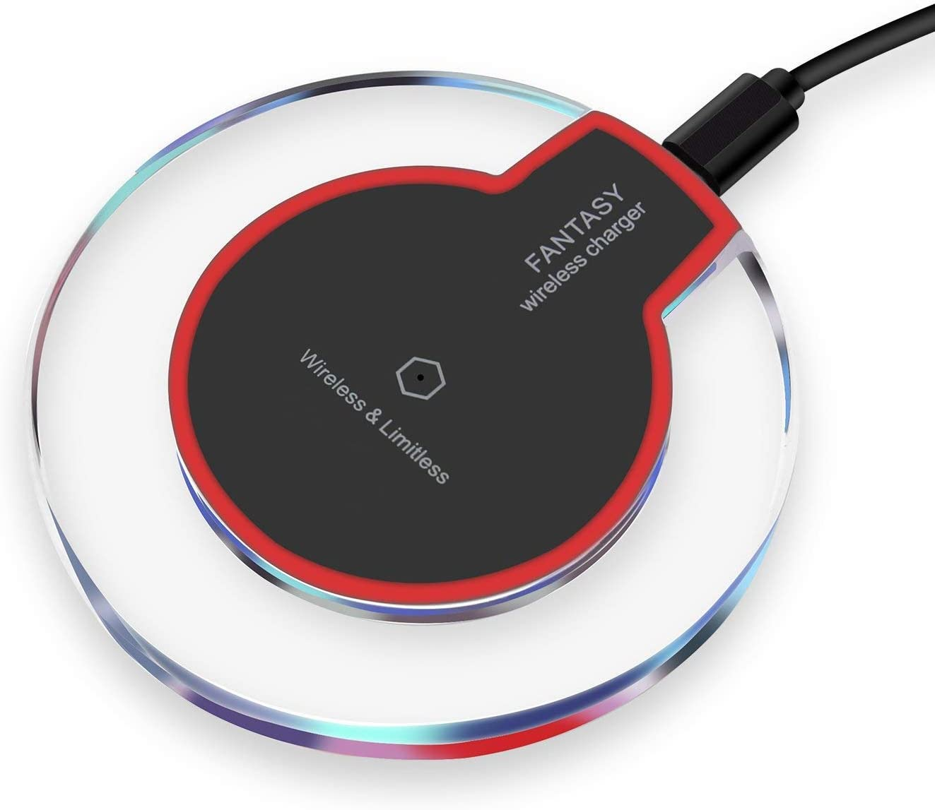 Red/&Black Qi Wireless Charger Pad Compatible Apple iPhone X iPhone 8//8 Plus Samsung Note 8 S8//S8 Plus//S7//S7 Edge//S6 Universal Wireless Charger Stand Fast Wireless Charger 2019 Upgraded