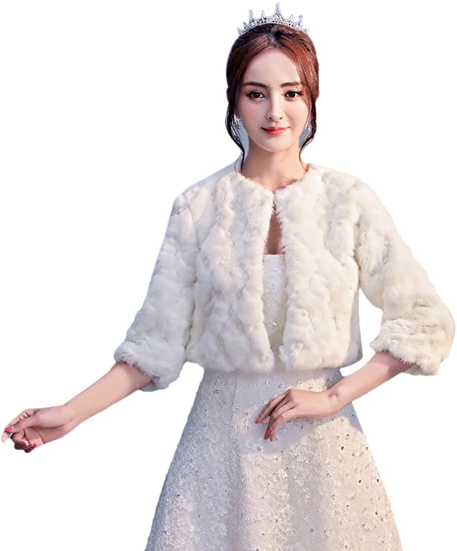 Paixpays Bridal Faux Fur Coat Jacket Shawl Wedding Cape Wrap Bolero Scalf Cloak
