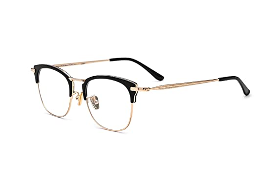 cb59c45fa2a HEPIDEM Acetate Women Vintage Myopia Optical Glasses Frame Eyeglasses  Spectacles 8002 (Black Gold)