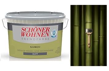 Schöner Wohnen Trendfarbe 1 Liter Cremige Wandfarbe Bamboo, Olivgrün ...