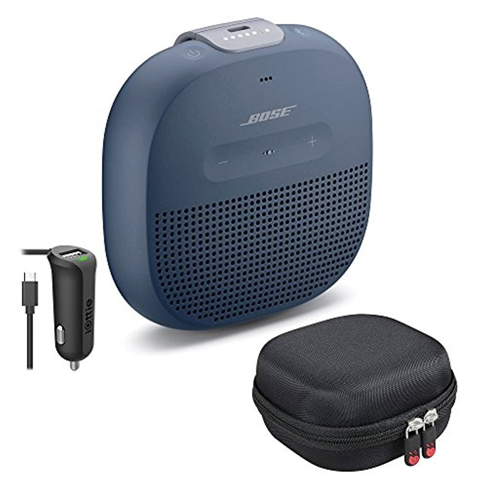 Bose SoundLink Micro Bluetooth Speaker, Midnight Blue, with Protective Hardshell Travel Case and Micro USB Car Charger by Bose