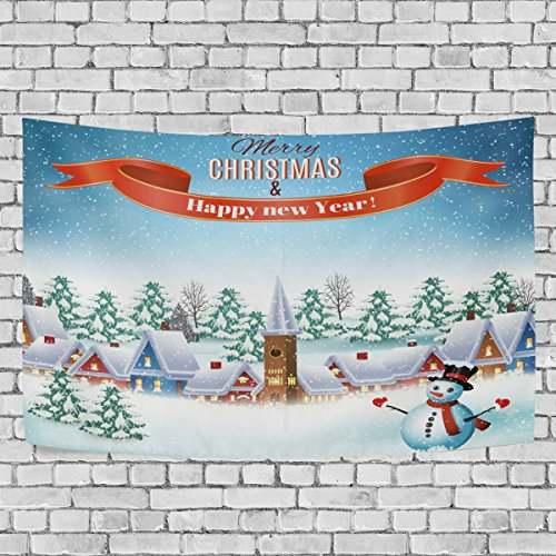 WIHVE Large Tapestry Christmas Snow Tree House Snowman Tale Tapestry Wall Hanging Art Home Decor for Living Room Bedroom Bathroom Kitchen Dorm 90 x 60 Inches (Tapestry Snowman Wall)