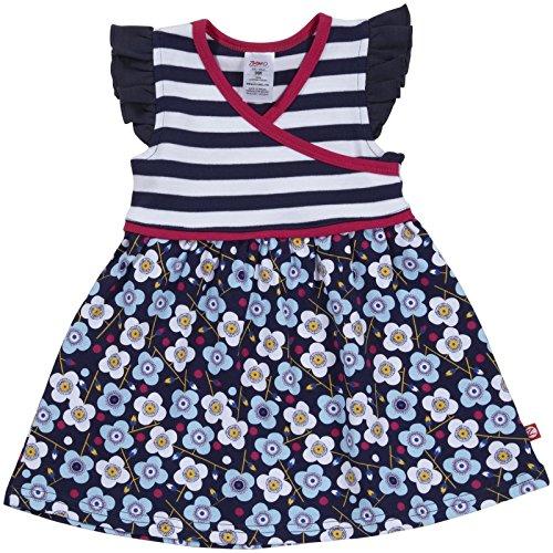 (Zutano Blaue Blumen Surplice Dress (Baby) - Navy-3 Months)