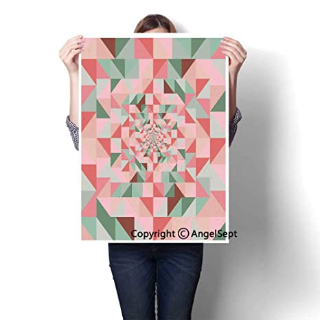 Green Pink Coral Modern Canvas Painting Wall Art Unusual Art Composition Of Geometrical Shapes Triangles Pastel Color Pattern 16 X24 For Wall Decor Bedroom Bathroom Amazon In Home Kitchen