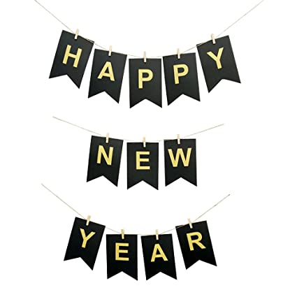 amazeco happy new year banner 2018 new years eve party banner party decorations with string