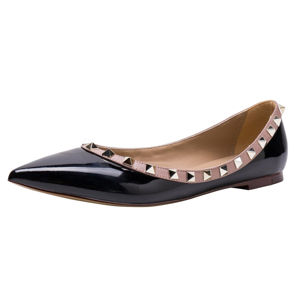 Kaitlyn Pan Pointed Toe Studded Ballerina Leather Flats B01B77ZK8Q 6US/ 36EU/ 36CN|Black Patent/Nude Trim/Gold Studs