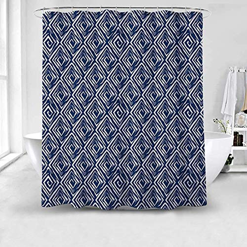 Geometric Fabric Shower Curtain Waterproof&Water-Repellent Mildew Resistant Antibacterial Washable Modern Navy Blue and White Argyle Bathroom Decoration Hotel Home Office Wall Decor as Backdrop,72x72 ()
