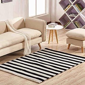 JAZS® Modern Minimalist Handgefertigte Acryl Teppich Wohnzimmer Couchtisch  Teppich Schwarz Weiß Streifen Anti