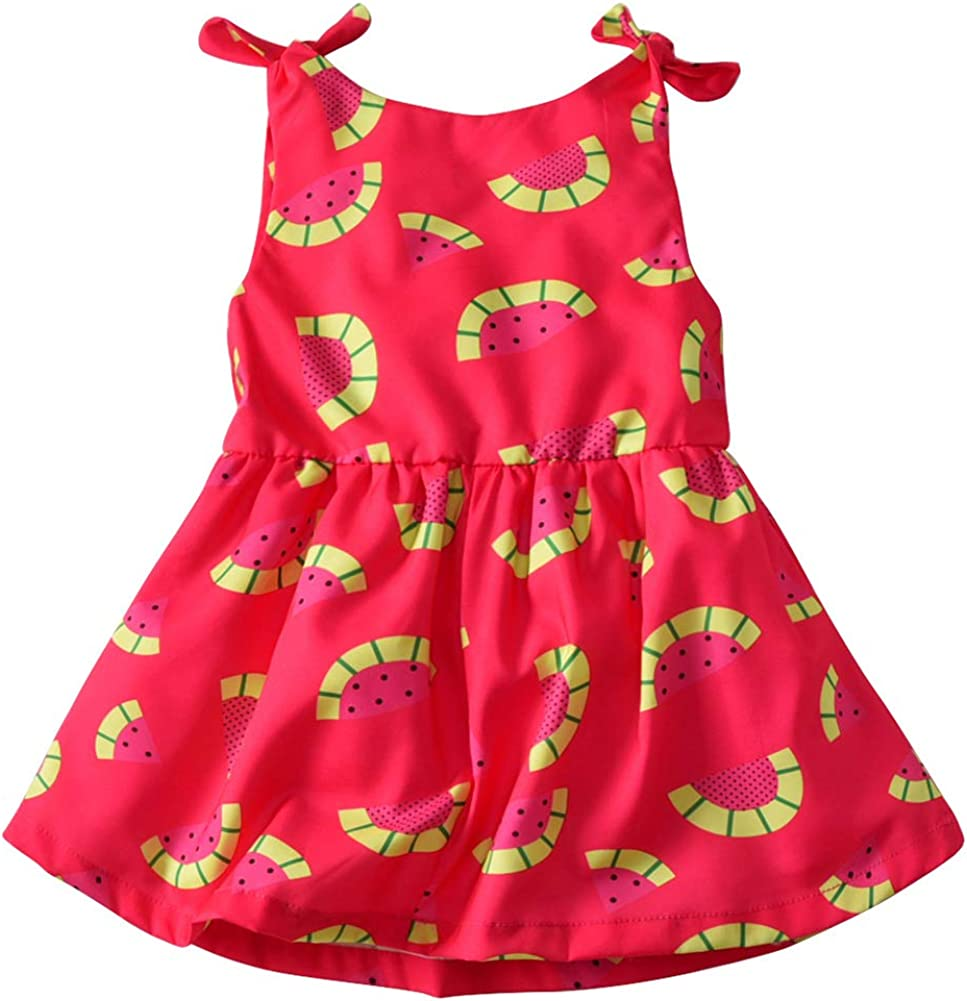 Baby Girls Floral Dresses Summer Halter Beach BacklessSundress Skirt Kids Princess Sleeveless Dresses