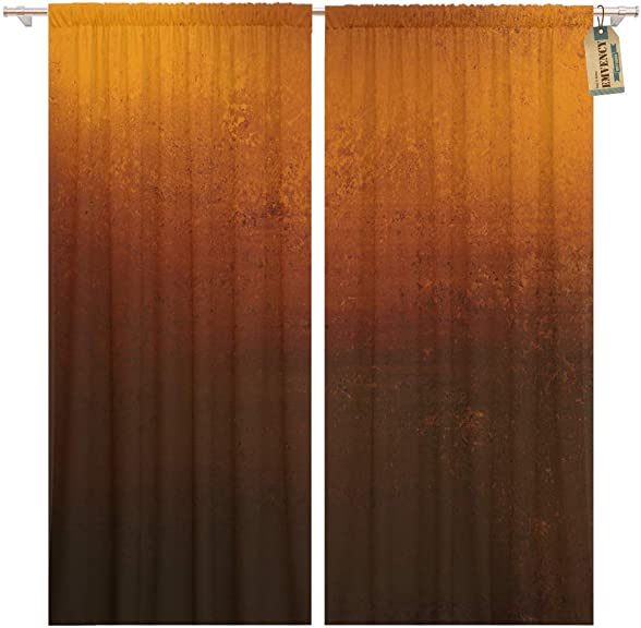 Golee Window Curtain Orange Copper Colored Warm Brown Earth Tones and Dramatic Home Decor Pocket Drapes 2 Panels Curtain 104 x 96 inche