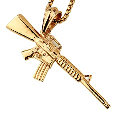 M16 submachine gun pendant necklace stainless steel chain mens m16 submachine gun pendant necklace stainless steel chain mens jewelrygold tone mozeypictures Images