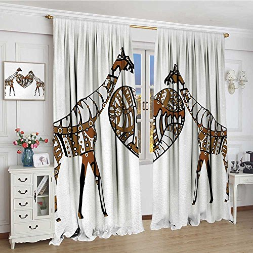 smallbeefly African Patterned Drape For Glass Door Soul Mate Giraffes with A Giant Heart Valentines Love in Nature Bohemian Print Waterproof Window Curtain 84