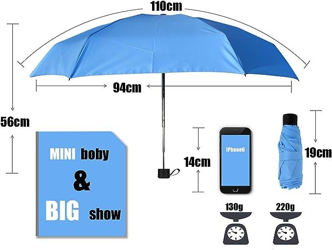 7 Pouces avec Bo/îte demballage Exquis pour Femmes et Enfants Parfait Protecteur Maltsky Mini Parapluie Pliant Ultra L/éger Compact Portable S/échage Rapide 99/% de R/ésistance Aux UV Nouveau Bleu