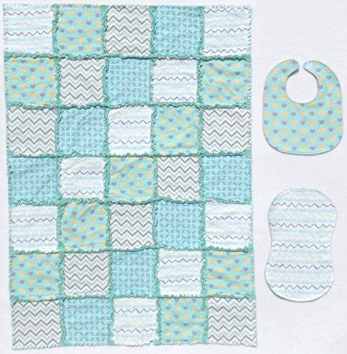 Precious HUSH HUSH LITTLE ONE print with Coordinating Gray and Aqua Accent Fabrics Baby Rag Quilt with Matching Burp Cloth and - Rag Fabric Quilt