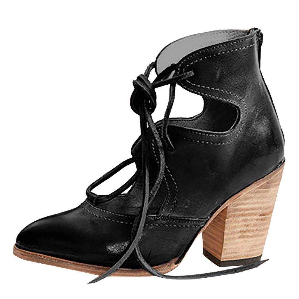 ✔ Hypothesis_X ☎ Womens Open Toe Heel Sandal Pumps Thick Heel Breathable Lace-Up Non-Slip Roman Shoes Sandals Black by ✔ Hypothesis_X ☎ Shoes
