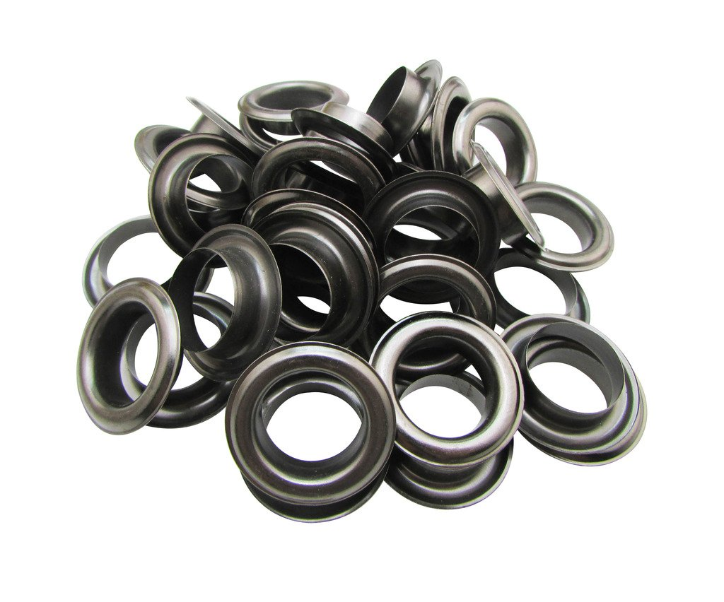 Amanaote 20mm Internal Hole Diameter Gun Black Eyelets Grommets with Washer Self Backing Pack of 30 Sets