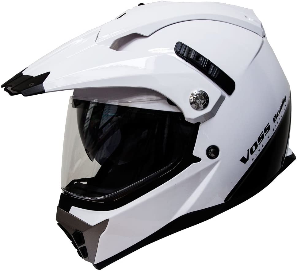 Voss 600 Dually Dual Sport Helmet with Integrated Sun Lens and Removable Peak. DOT - S - Gloss White Shark Fin