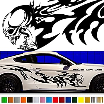 Skull tribal car sticker car vinyl side graphics wa56 car vinylgraphic car custom stickers decals 【