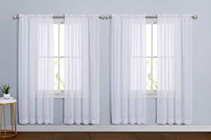 "NICETOWN Sheer White Curtain Sets 72 inch Length, Window Treatment Rod Pocket Tulle Voile Drape / Panel for Living Room / Bedroom, 4 Panels, 60"" Wide"