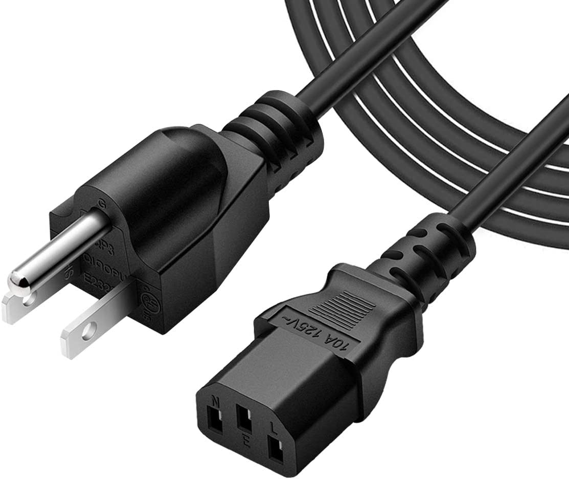 Extra Long 10 Feet 3 Prong 18 AWG Universal Power Cord - NEMA 5-15P to IEC320C13R, TAA Compliant, Black Replacement Cable