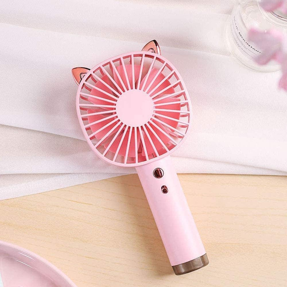 ASDAD Handheld Mini USB Fan with LED Night Light Seven-Leaf Design Low Noise 3 Speeds Small Portable Pocket Fan for Home Office Outdoor Travel,Brown,Pink