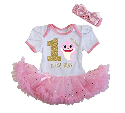4f06b3864 G&G - Personalized 2 Pc Baby Girls One Year Old Shark Tutu Dress Pink Gold (