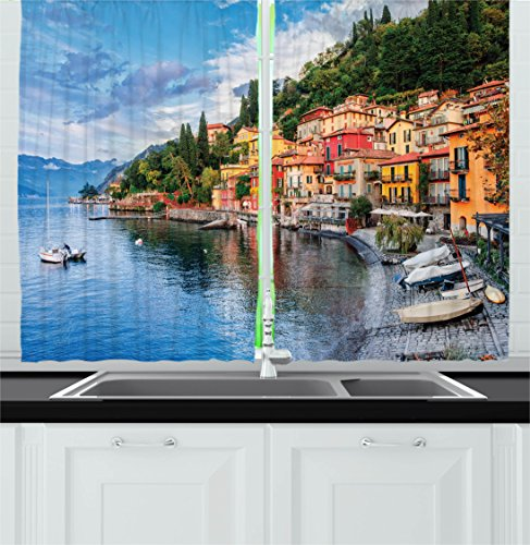 Ambesonne Italian Decor Kitchen Curtains by, Summer Village by Mediterranean Sea with Yacht Boats Idyllic Town Panorama, Window Drapes 2 Panels Set for Kitchen Cafe, 55 W X 39 L Inches, Multicolor