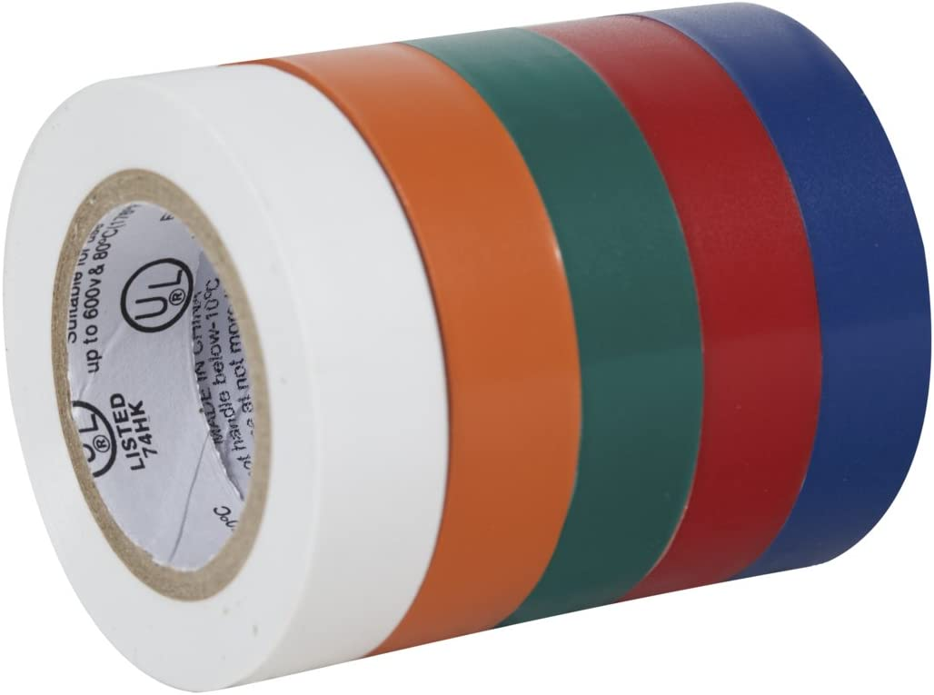 0.75-Inch-by-12-Feet Duck Brand 280303 Multi-Purpose Electrical Tape Assorted Colors 5-Rolls