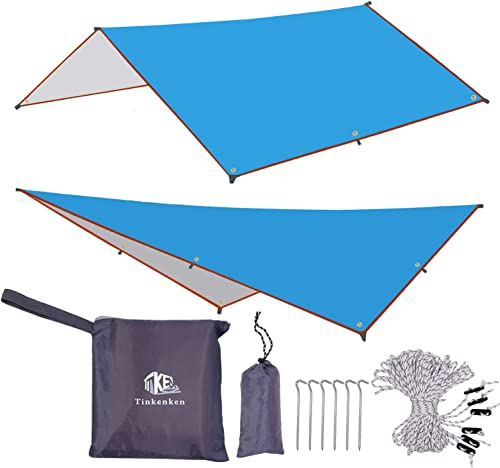 Tent Tarps Camping Hammock rain Fly Cover with 6 Aluminum pegs and 6 Guy Lines for Backpacking Bushcraft Waterproof UV Protection Shelter