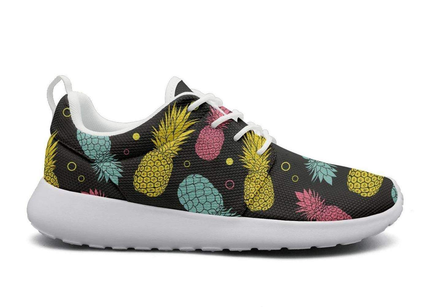 ERSER Black Summer Colorful Tropical Fruit Pineapple Free Running Shoes Women
