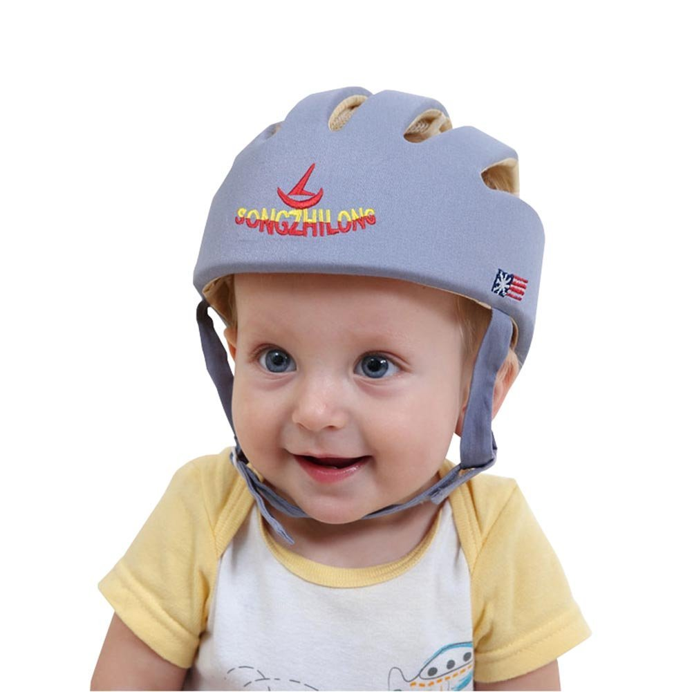 Kxtffeect Infant Baby Safety Helmet Headguard, Adjustable Safety Protective Harnesses Hat (Grey)