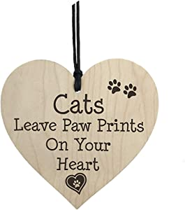 Dadaly Decor Cat Sign - Cat Leave Paw Prints on Your Heart Pet Plaque -Cat House Decor 4 x 4 inch Wood Hanging Home Decor
