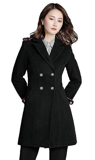 dba1d086cd26 Damen Winter Mantel Wollmantel Klassischen Doppelten Breasted Trenchcoat  Warm Schlank Vintage Jacke Windmantel Outwear Schwarz  Amazon.de  Bekleidung