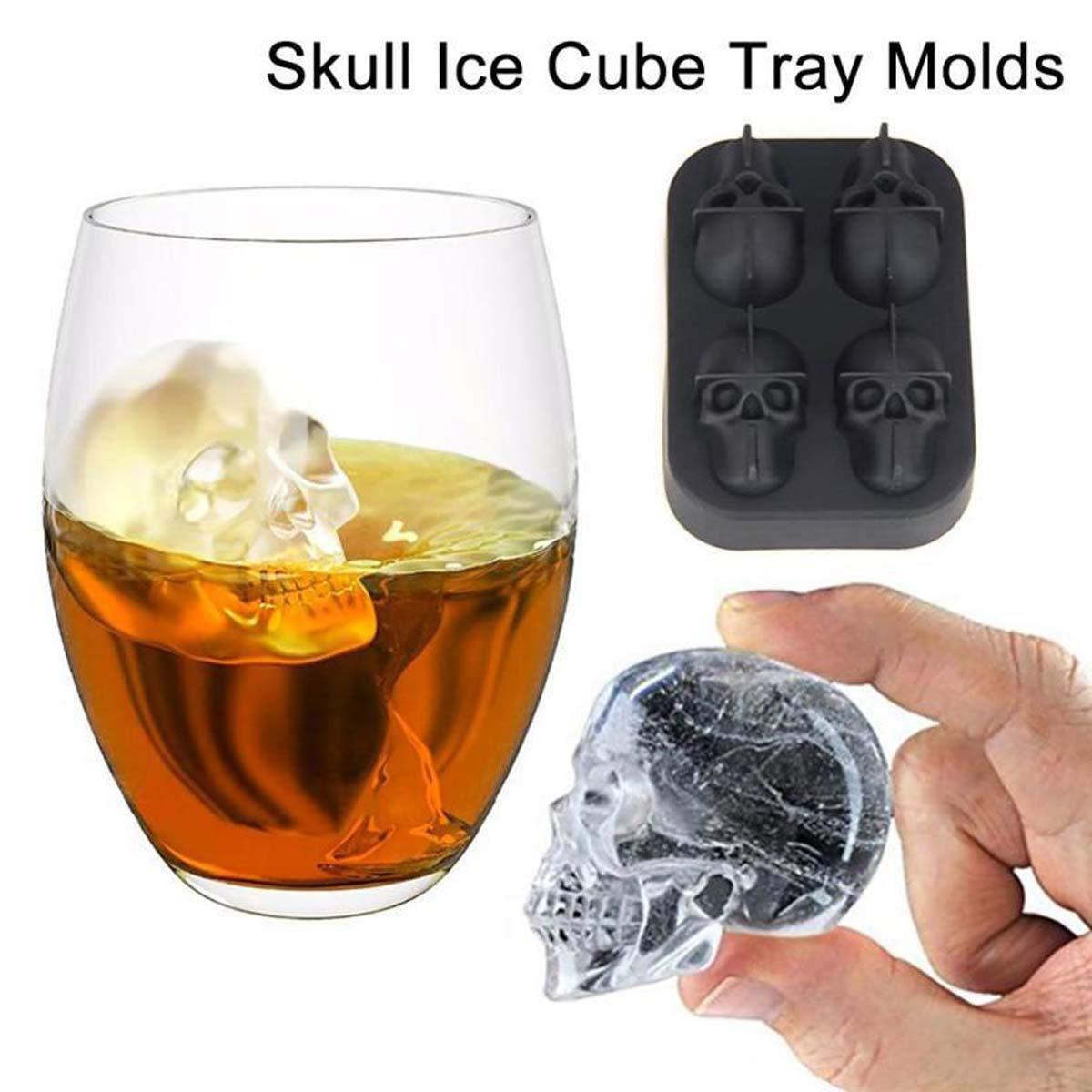 Scotch Cocktail Highball NANHAI Plateau de Moule /à gla/çons en Silicone Flexible 3D Skull Grande Machine /à gla/çons Ronde Whisky Noir permettant la Fabrication de Quatre cr/ânes g/éants