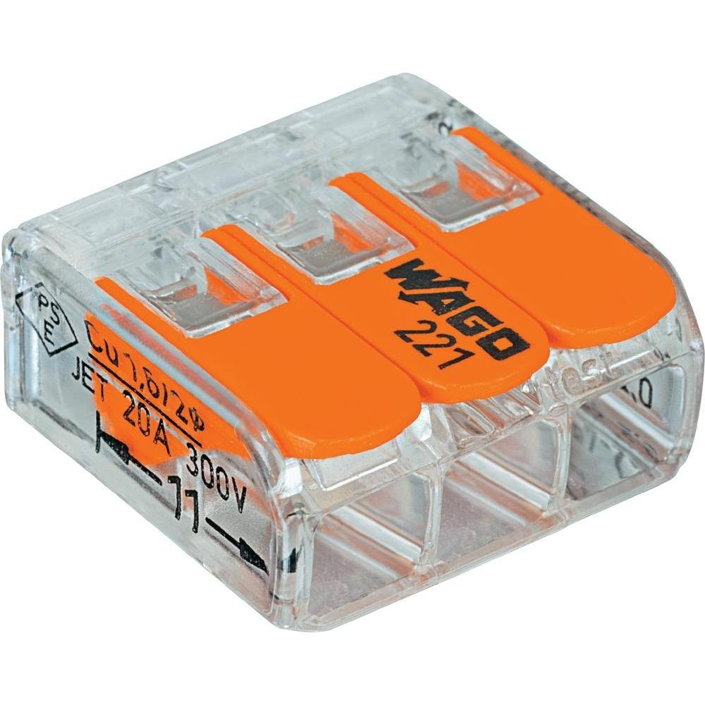 Wago 221-413 LEVER-NUTS 3 Conductor Compact Connectors 2500 PK