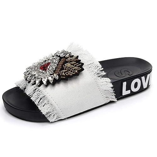 Internet_Zapatillas con Estampado de Diamante de imitación,Chanclas/Flip Flops De Damas Rhinestone borlas étnicas, Zapatillas De Tacón Bajo Grueso Sandalias ...