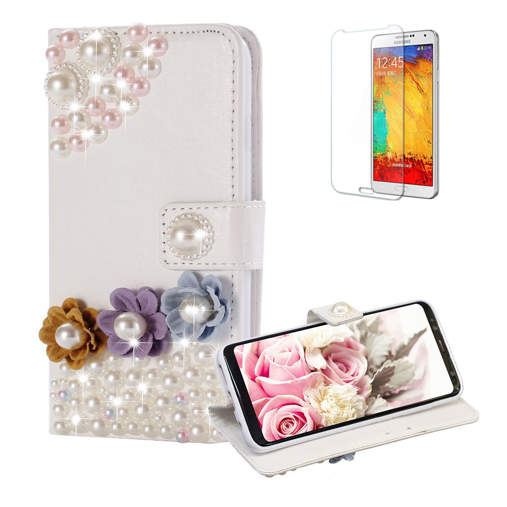 Funyye Diamond Wallet Cover for Samsung Galaxy S8 Plus,Luxury 3D Pearl Flower Design Crystals Bling Magnetic Flip Case Kickstand Feature Card Slots PU Leather Case for Samsung Galaxy S8 Plus