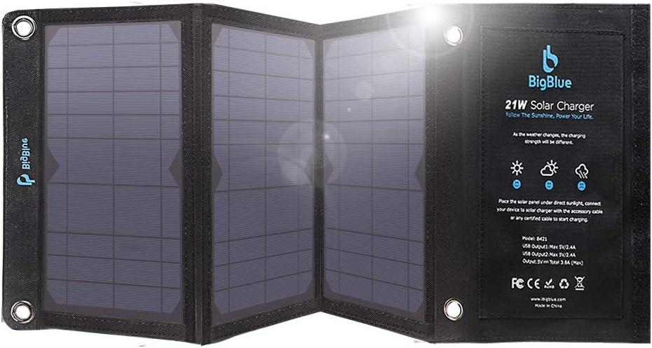 BigBlue Cargador Panel Solar, 21W Cargador Solar Portátil y ...