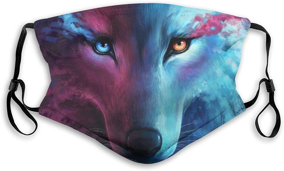 Domineering Cool Dreaded Animal Galaxy Fantasy Wolf Art Dust Face Mask Adjustable Mouth Mask Balaclava Bandanas With Filter Paper For Kids Teens Men Women S