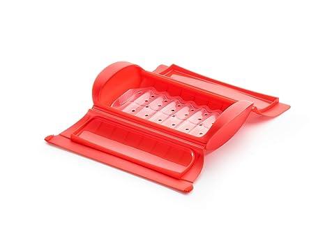 Lékué - Estuche de vapor, Con bandeja, Rojo, 1 - 2 personas (650 ml)