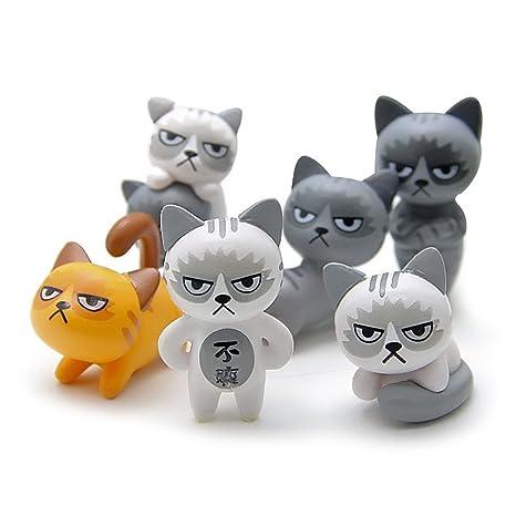 Smartrich - Adornos de escritorio para decoración de animales, 6 piezas, para gatos,