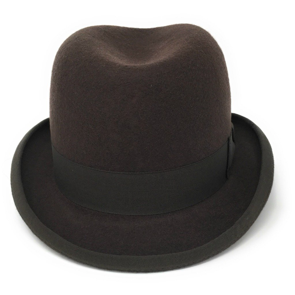 Cotswold Country Hats Homburg Mens Hat - Brown, Grey. Stiff Build Lined. Handmade from 100% Wool Felt. Small, Medium, Large, Extra Large, XX Large