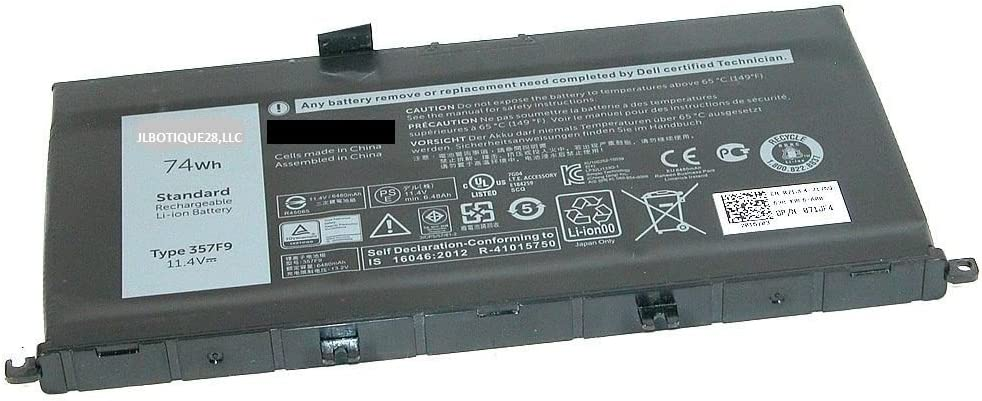 JLBOTIQUE28,LLC Battery - 357F9 - for Dell Inspiron 15 7559, inspiron I7559 11.4v 74Whr 3-Cell Primary Battery 0GFJ6, 071JF4, 71JF4. (Free Flexible USB LED Light)